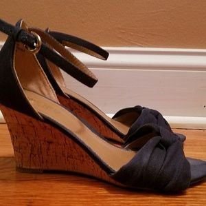 Denim Navy Wedge Sandals